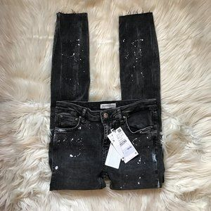 NWT Zara Paint Splatter The Skinny Jeans Distress